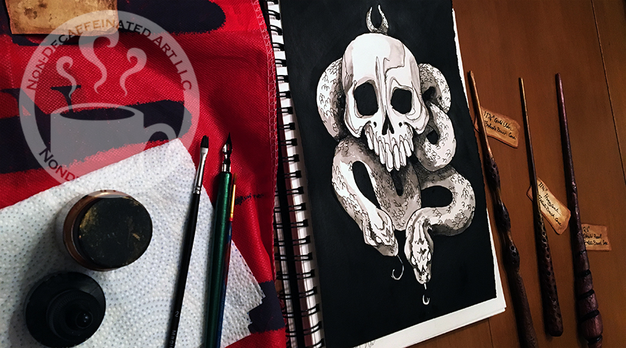 Skull pen and ink drawing