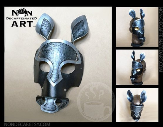 Black and Silver Horse Mask shown from several angles