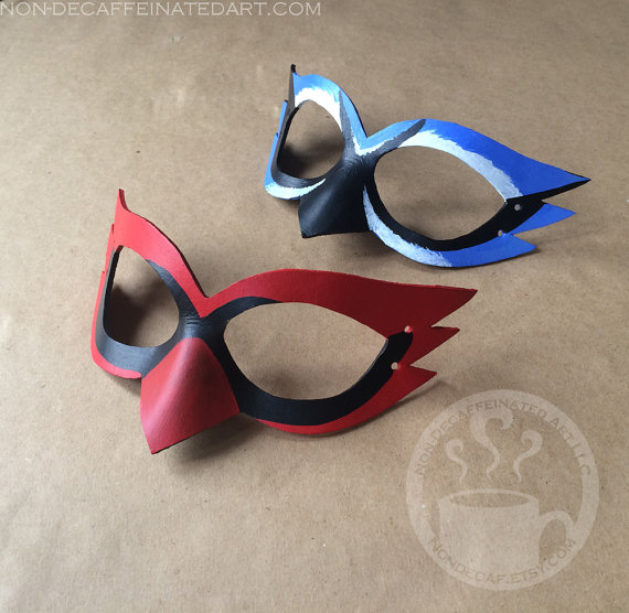 photo of two small Cardinal and Bluejay Masks