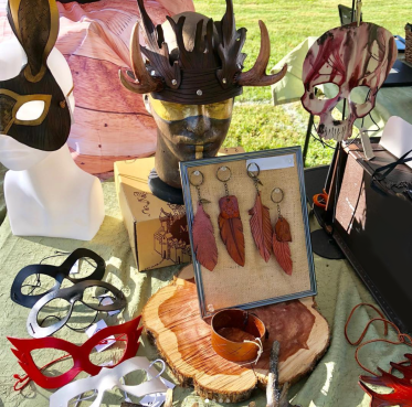 Table display of keychains and masks