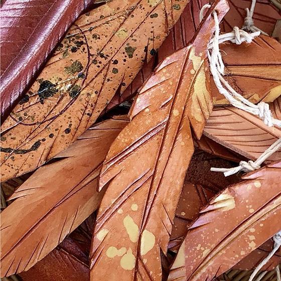 closeup of leathercraft feathers