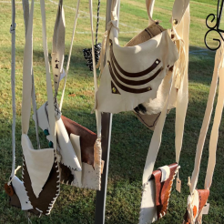 hanging leather pouches