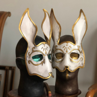 Leather rabbit mask by nondecafart