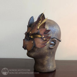 Leather steampunk cat 1mask by nondecafart