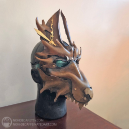 Leather steampunk wolf mask by nondecafart