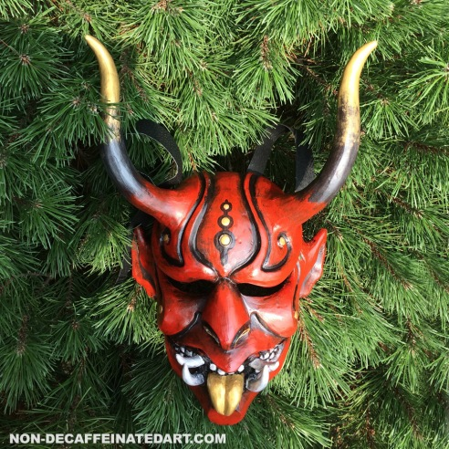 Oni mask curved horns - nondecaffeinatedart